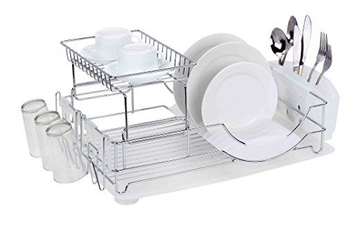 - Home Basics Deluxe 2 Tier Kitchen Stainless Steel Countertop Dish Drying Rack, With Side Mounting Mug Stand, Removable Utensil Caddy, and Removable Dish Tray Drainboard