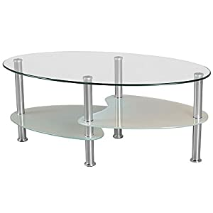 Cara Oval Clear and Frosted Glass Coffee Table: Amazon.co