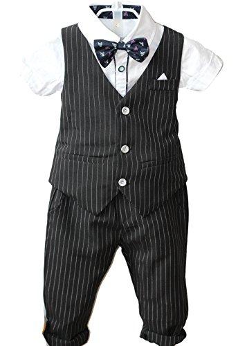 (YUFAN Boys Pinstripe Vest Set Vest + Pants + Shirt 3 Pieces Black & Blue 2 Colors (6, Black(Short Sleeve)))