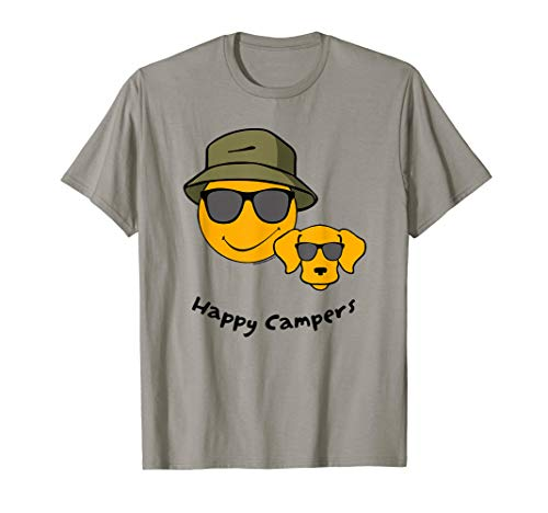 (Happy Camper Cool Dog Smiley Face Funny Camping T-Shirt )