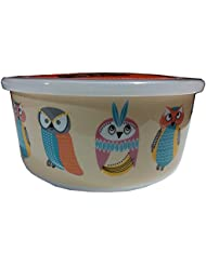 Ciroa Microwaveme Fine Porcelain Microwave Bowl With Silicone Seal 5.75  Inch (Owls Yellow Background)