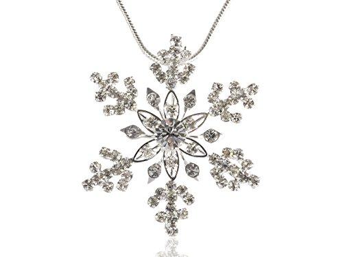 Elegant Holiday Festive Christmas Season Festival Snowflake Crystal Necklace