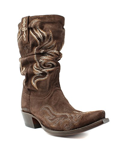 Lucchese M4936 Womens Brown Leather Cowboy, Western Boots