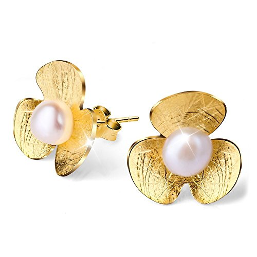 - Lotus Fun S925 Sterling Silver Stud Earrings Fresh Clover Flower Ear Stud with Freshwater Pearl for Women and Girls, Handmade Unique Jewelry Gift (Gold)