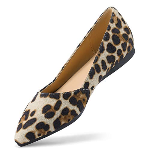 - VILIYA Women's Flats Shoes Casual Fashion Pointed Toe Slip-On Comfort Multi Colors Leopard 11