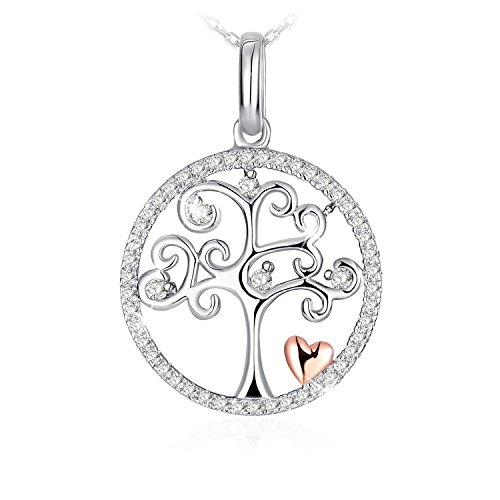 J.Rosée Tree of Life Sterling Silver Disc Pendant 18 Silver Chain Necklace for Women Christmas Jewelry Gifts
