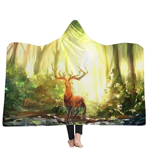 Velveteen Adult Cape - Zzyff Hooded Blanket Hooded Blanket 3D Fantasy Forest Series Printed Winter Warm Adults Soft Plush Cloak Cape Air Conditioning Blanket (Size : 150 x 200cm)