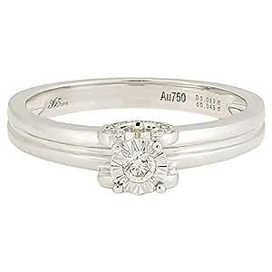 365Love Women's 18K Solid White Gold Diamond Ring - 12 US