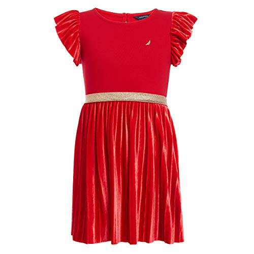 Nautica Little Girls' Holiday Party Short Sleeve Dress, Velour Cherry Red, 5