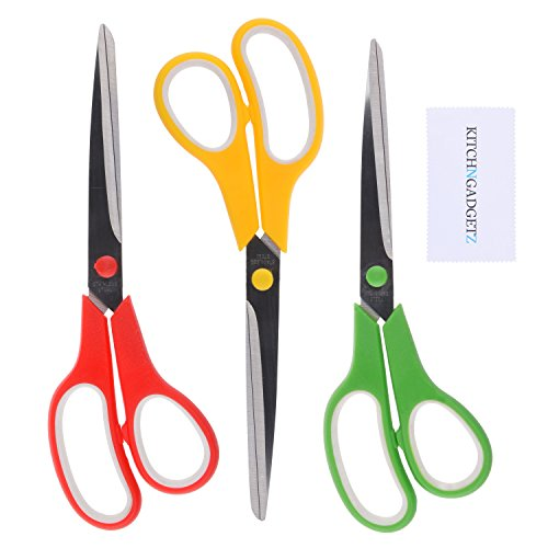 "Scissors XL 9.5"" Precision Cut - 3 Pack of Shears - Red, Yellow, Green (Coding)- Sharp Edge Stainless Steel Blades - Multi Purpose: Kitchen/Office/Crafts/College - Paper/Herbs/Rope/Fabric/Photos/etc"
