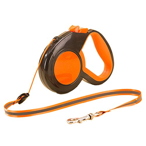 - WDD Pet Traction Rope One-Button Automatic Telescopic Environmental Protection ABS Rubber Handle Grip Comfortable Reflective Strip Night Traction Belt Length Up to 5M (Orange)