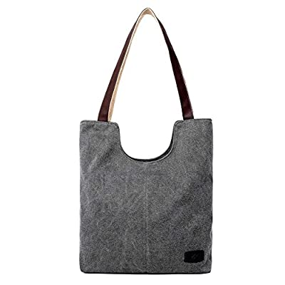 Hiigoo Simple Portable Bags Canvas Tote Bag Casual Shoulder Bag Bigger Handbag