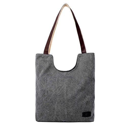 le Bags Canvas Tote Bag Casual Shoulder Bag Bigger Handbag (Grey) (Small Tote)