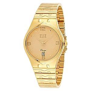 Eliz Men's Gold Dial Stainless Steel Band Dress Watch - ES20-8283G-GC