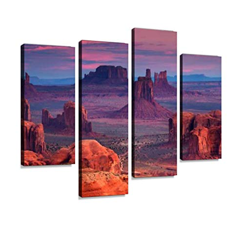 Hunts Mesa Navajo Tribal Majesty Place Near Monument Valley, Arizona, USA Canvas Wall Art Hanging Paintings Modern Artwork Abstract Picture Prints Home Decoration Gift Unique Designed Framed 4 Panel - Monument Valley Usa Framed