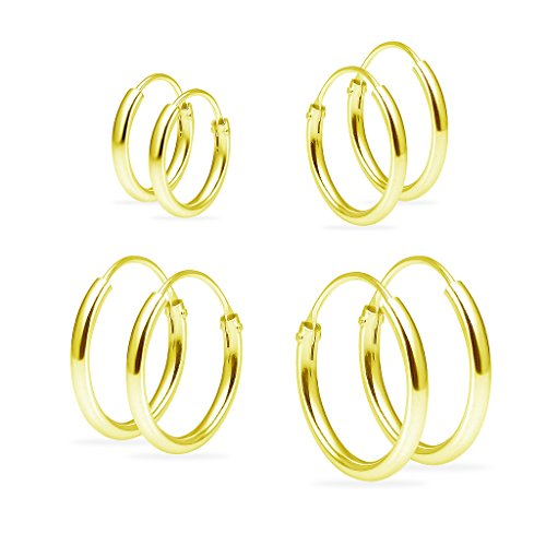 (Set of Four Sterling Silver Small Endless 1.2mm x 10mm, 12mm, 14mm &16mm Lightweight Thin Round Unisex Hoop Earrings Yellow Gold Flashed)