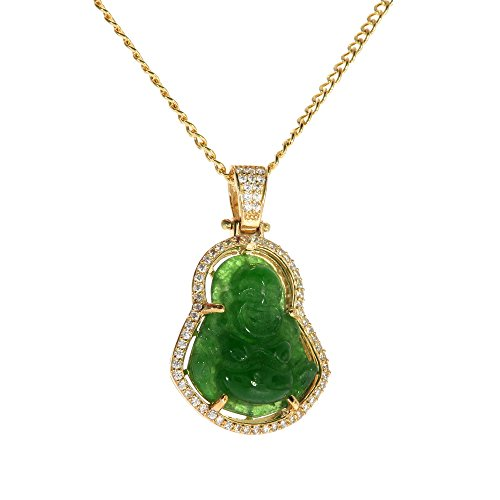 Genuine Stamped 10K Yellow Gold Cuban Curb Link Chain Small Charm Pendant Necklace [ASSORTED SETS] (Jade Buddha + 20 Inches Necklace)