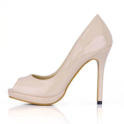 Haga clic en mujeres entran nuevos productos y sexy elegante banquete de pescado carne zapatos de mujer de punta fina de cuero barnizado de alta Heel Shoes