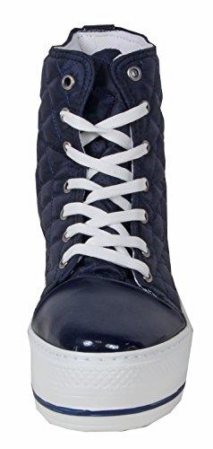 Setra - stylische Plateau Damen Sneaker Schnürschuhe Turnschuhe HIGH TOP Steppmuster ca. 4,4 cm hoch 36 37 38 39 40 37