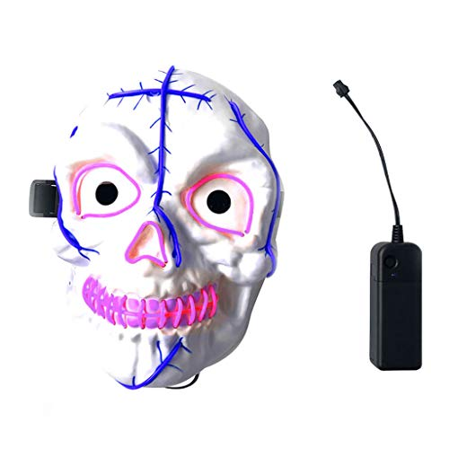 Clown Gas Mask (Yezijin Halloween Illuminate Terror Scary LED Face Flash Mask Party Prop Ghosts)