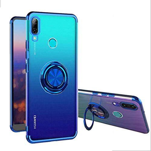 Huawei P Smart 2019 Case, [360° Ring Stand] Crystal Clear [Electroplated Metal Technology] Silicone Soft TPU [Shockproof Protection] Thin Cover Compatible with Huawei P Smart 2019 (Blue, P Smart 2019) (Best Smart Ring 2019)