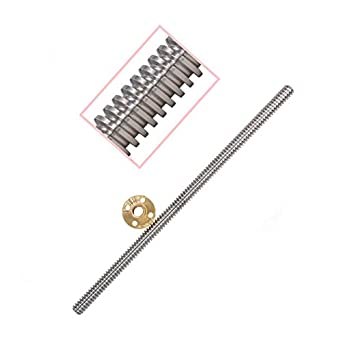 Machine Tool Guide Rail perfk T8 300mm 8mm Lead Screw Set with Nut for 3D Printer Step Motor