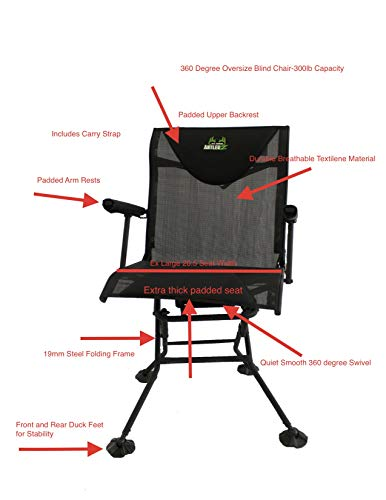 All About AntlerZ Deluxe Comfort 360 Deer Turkey Hunting Blind Chair (Ground Chairs)