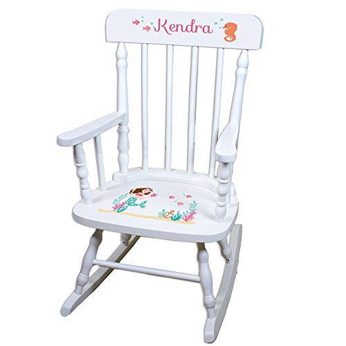 Personalized Brunette Mermaid Princess White Childrens Rocking Chair