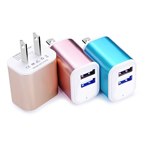 Dual USB Port Charger, Wall Plug, NonoUV 3Pcs Universal Home Power Charge Block Fast Charging Adapter for iPhone 7/7 plus 6 5S SE, iPad, Tablet, Samsung Galaxy S8 Plus/S7/S6 Edge/S5, Note 8 5, HTC, LG (830 Charging Lumia Wireless Shell)
