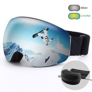 Acehome Adult OTG & Helmet Compatible Ski Goggles for Skiing Snowboarding Snowmobile Skating Winter Sports, 100% UV400 Protection & Anti Fog & Windproof & Anti Glare