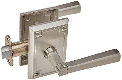 Craftsman Style Lever Door Set With Rectangular Rosettes Right Hand Passage In Satin Nickel. Traditional Door (Emtek Nickel Door Knob)
