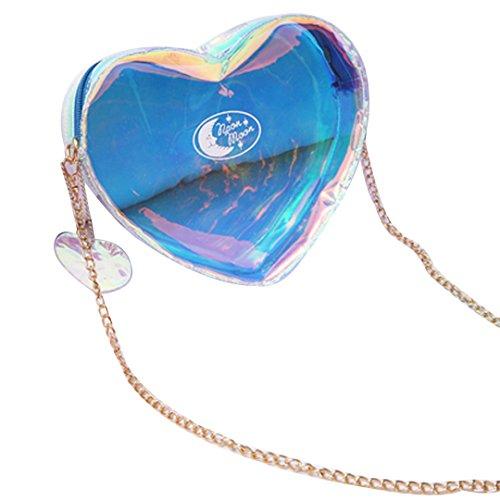 Amily Bolso bandolera transparente con forma de corazón para bolso de mano Azul