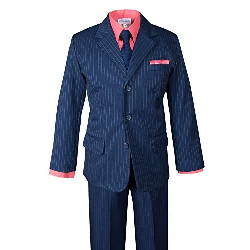 Spring Notion Boys' Pinstripe Blue Suit with Knit Tie and Satin Handkerchief supplies