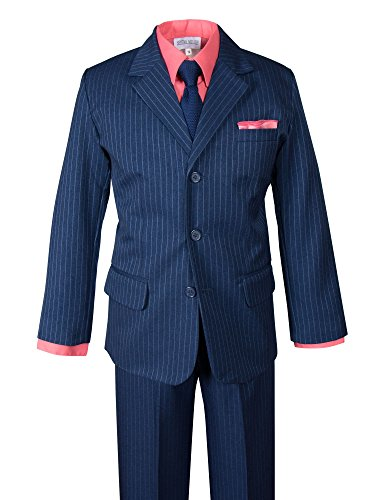 Spring Notion Boys' Pinstripe Blue Suit with Knit Tie and Satin Handkerchief 4T Coral-Navy (Suit Navy Tie Pinstripe)