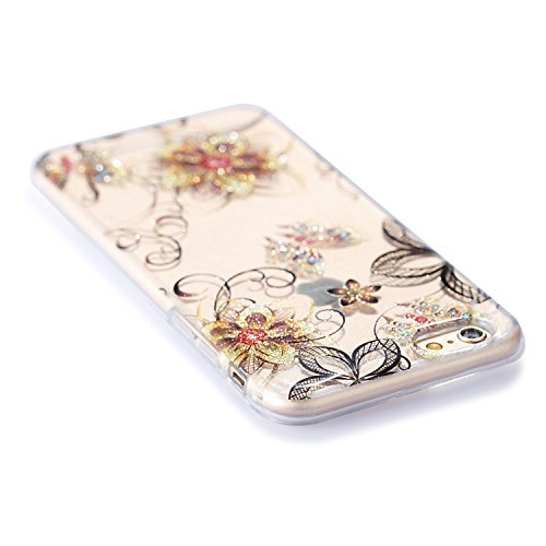 Flexible Soft Iphone Skin Flower 8 Bumper Protector Screen Case Silicone Luxury Glitter iphone 7 Tpu Anti scratc Gel Plus Cover Cute idatog Shockproof Free Creative Fashion Design Plus Sparkle Hd TBrqT