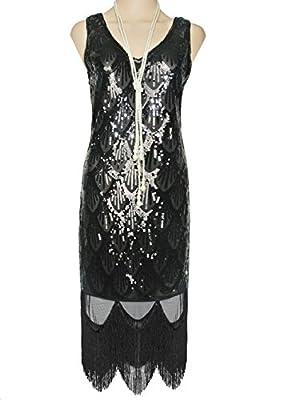 Vijiv Women's 1920s Gatsby Sequin Art Deco Scalloped Hem Inspired Flapper Dress
