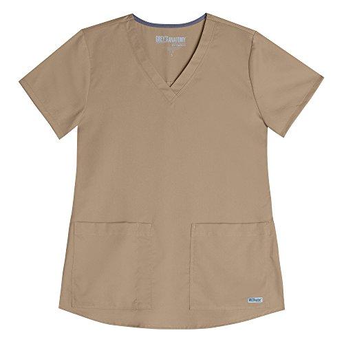 Two Pocket Scrub Top Khaki (Grey's Anatomy Women's 71166 2 Pocket V-Neck Scrub Top With Shirring Back- New Khaki- XXX-Large)