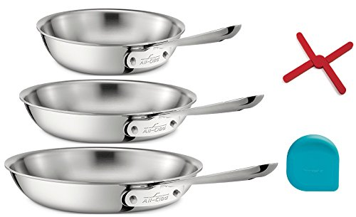 All Clad 8',10',12' Stainless Steel Skillet Set Includes Trivet by AC