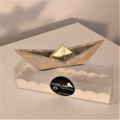 Yumilab: Velero grande estilo origami con acabado metal dorado, barco, velero, regalo, deco de mesa, navidad, mar