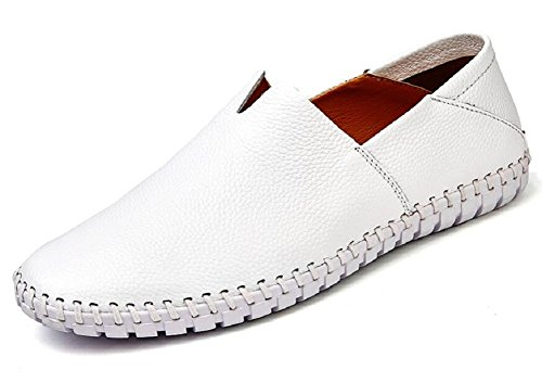 (JIYE Men's Genuine Leather Loafer Shoes Slip On Soft Walking Driving Shoes,White,44EU=11 M US)