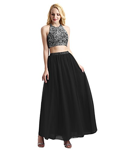Bridesmay Women's Long Tulle Skirt Maxi Prom Evening Gown Bridesmaid Formal Skirt Black XS ()