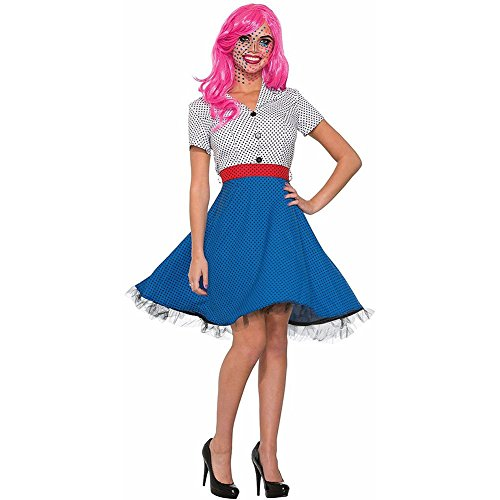 Pop Art Costume Blue Wig (Pop Art Ms Dottie Costume - Standard - Dress Size 6-12)