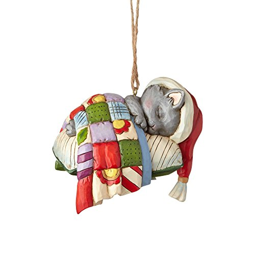 "Enesco Jim Shore Heartwood Creek Kitten on Pillow Stone Resin, 3.25"" Hanging Ornament Multicolor"
