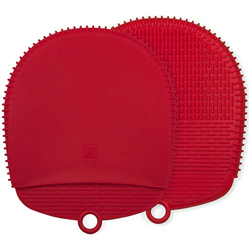 The Ultimate Pot Holders / Oven Mitts | 100% Silicone Mitt is Healthier Than Cotton & Easier to Clean, Wont Grow Mold or Bacteria | Unique Design Makes it Safe, Non-Slip, Flexible (Coral Red, 1 Pair)