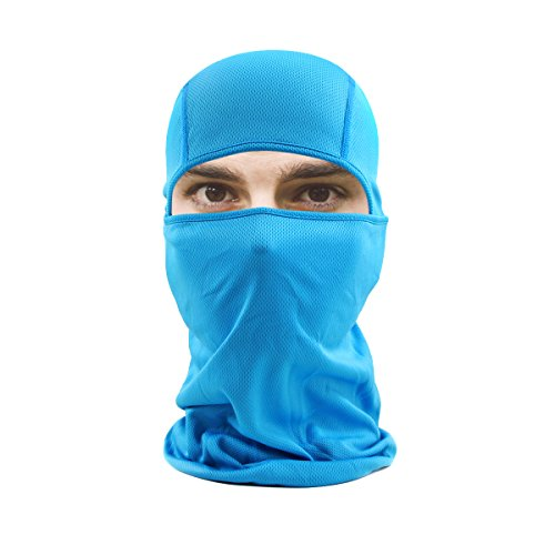 hikevalley Balaclava Face Mask Adjustable Windproof UV Protection Hood (Light Blue)