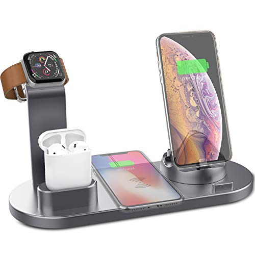 Yestan Wireless Charging Stand 4 in 1 Qi Fast Wireless Charger Compatible with iPhone Airpods Apple Watch Wireless Charging Station Dock Compatible iPhone X XS XR Xs Max 8 8 Plus