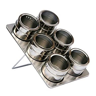 Stainless Steel Magnetic Spice Storage Tin Rack w/ See-Through Lids