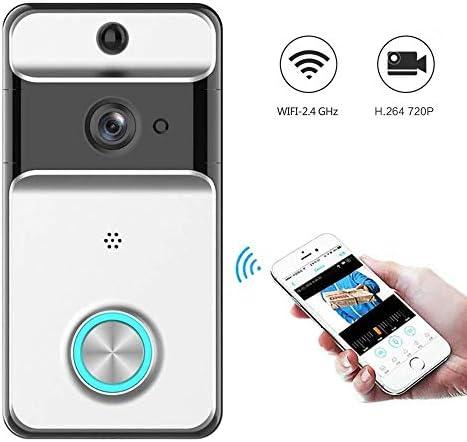 ワイヤレステレビドアホン ドアベル 可視ドアホン720HDリアルタイムビデオ会話 ナイトビジョン機能 PIR動き検出 2.4G Wi-Fi対応 携帯コントロール可能 166度広角レンズ 防盗用
