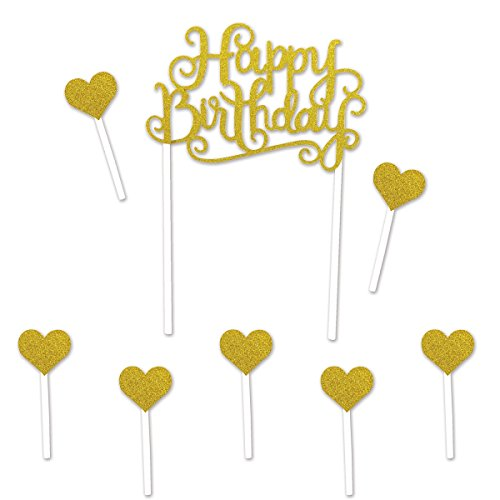 Beistle 52216 Happy Birthday Cake Topper44; Gold - Pack of 12 from Beistle