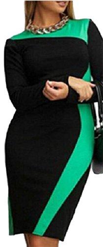 Contrast Green Jaycargogo Womens Elegant Casual Work To Illusion Wear Dress Optical vRXqRxrwS